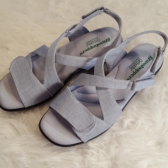 Spring Grasshoppers Chambray Velcro Sandals - light blue fabric